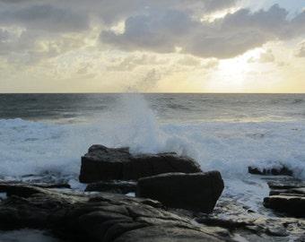 Early Morning Crashing Waves, digital photo