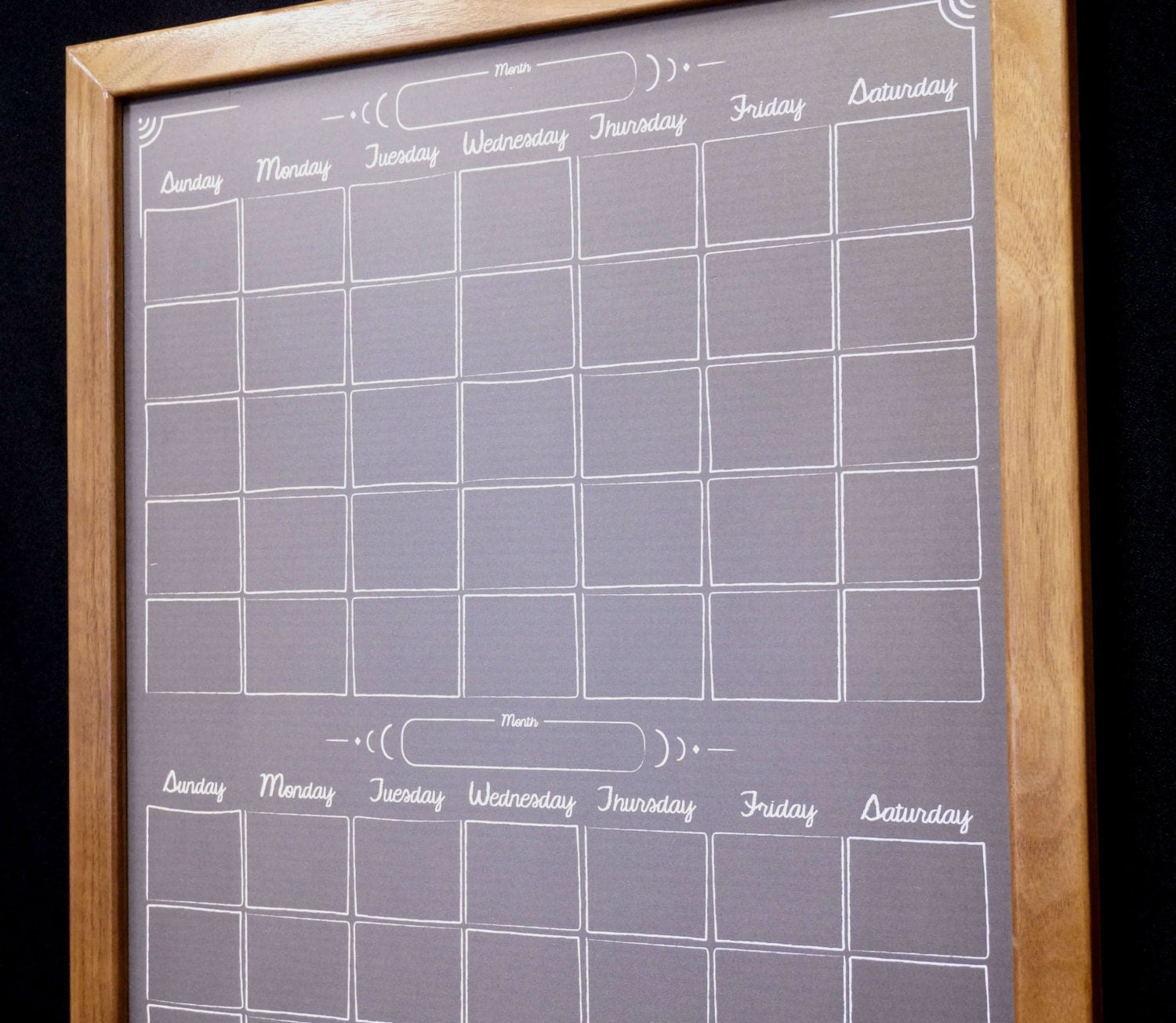calendar dry erase board whiteboard wood framed monthly dry zoom