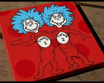 Thing 1 & Thing 2 12x12 - Dr Seuss Canvas Wall Art