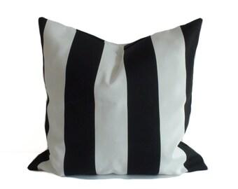 Outdoor pillow cover, 20x20, Outdoor pillows, Outdoor throw pillow, Black and white stripe pillow, Outdoor cushion, Porch pillow