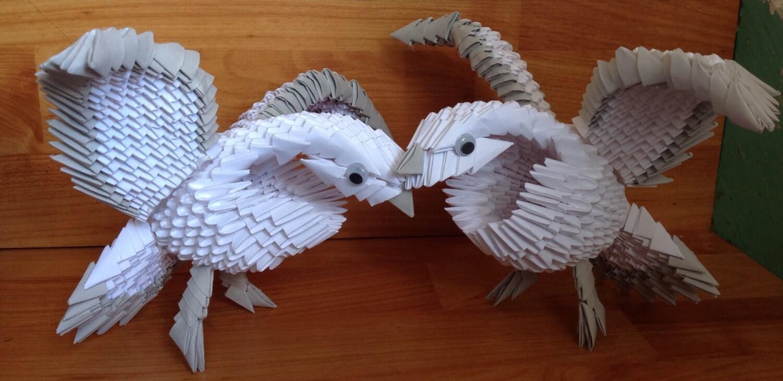 Oiseau colombe pigeon 3d origami decoration par origamiphilong - Origami 3d facile ...