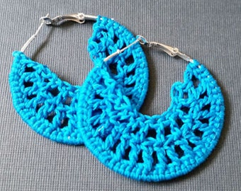 Light Blue Crochet Hoop Earings