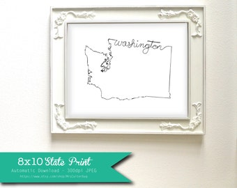 Printable Washington State Art Print 8x10 Digital Wall Art Gift