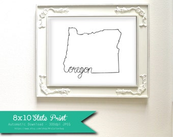 Printable Oregon State Art Print 8x10 Digital Wall Art Gift
