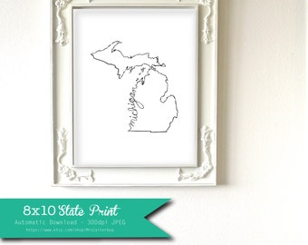 Printable Michigan State Art Print 8x10 Digital Wall Art Gift