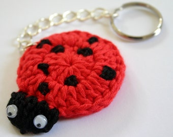 Keychain crochet pattern Ladybug tutorial crochet pattern explanation
