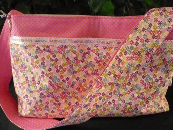 Multi-color Floral & Pink Lace Purse Diaper Bag