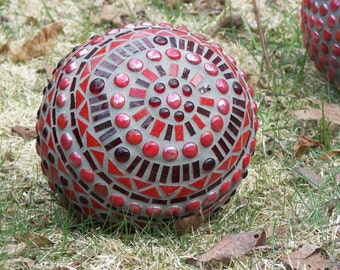Red Mosaic Ball, Stained glass mosaic ball, gazing ball, Concrete mosaic ball, orb, sphere,