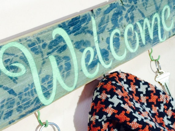 Recycled pallet wood welcome sign 5 mint hooks /mudroom hanger/ spring wall hanging decor /hat rack/ pistachio green roses, stained edges