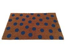 Blue Polka-Dot Door Mat (size options)