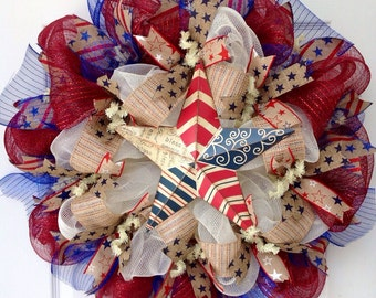 Patriotic God Bless America Barn Star Deco Mesh Wreath
