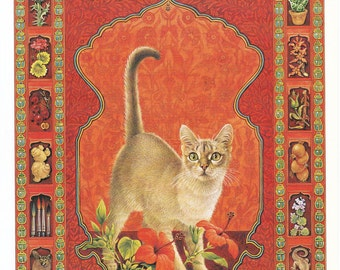 Scorpio vintage cat print Lesley Anne Ivory feline illustration star sign horoscope zodiac astrology celestial 8 x 11 inches