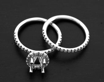 14 Karat White Gold Engagement Wedding Set Mounting! Set Your Own Diamonds, Gemstones & Save!!!