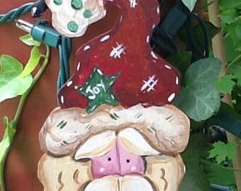 Santa ornament, country santa ornament, christmas ornament, holiday ornament, christmas tree ornament, Santa gift tag, Rudolph ornament