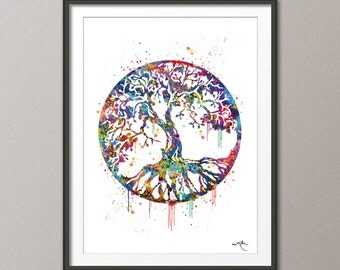 Tree of Life Watercolor Art Print  Wall Art Poster Wedding Gift Nursery Nature Love Family Giclee Housewares Buddha Home Decor  [NO 451]