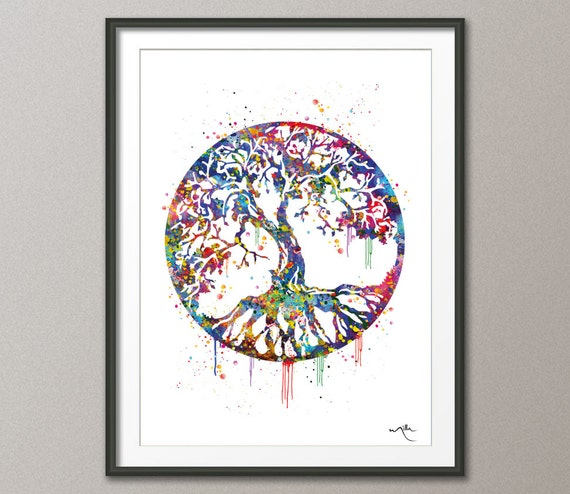 Meaning Of Wall Decor : Tree of life watercolor art print wall poster wedding