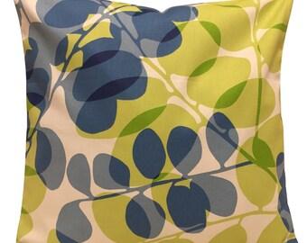 Scion Lunaria Denim & Lime Green Cushion Cover