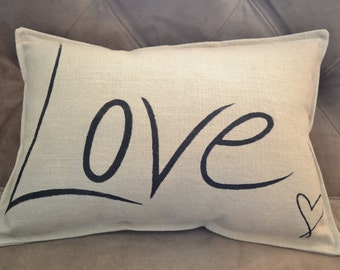 Hand screen printed, Linen Throw pillow