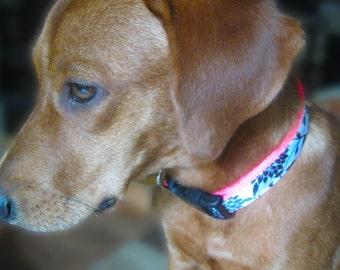 Pink Dog Collar, large dog Collar, Dog Collar for girl, Pretty Dog Collar, Floral Dog Collar, Cute Pink Dog Collar, bright dog collar