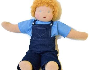 Waldorf doll, Handmade doll, Custom doll, cloth doll, natural doll, 12 inch doll, 16 inch doll, 20 inch doll, boy doll, with blond hair!