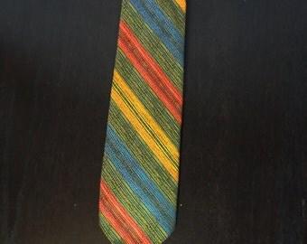 Vintage Men's Fabrini Multi Colored Striped Necktie