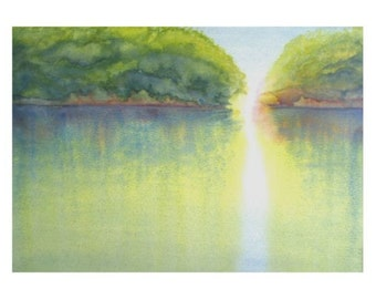 """Matted Water Color Reproduction Print """"Mangrove Light"""""""
