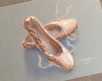 Original Soft Pastel drawing. Study with pointe shoes.