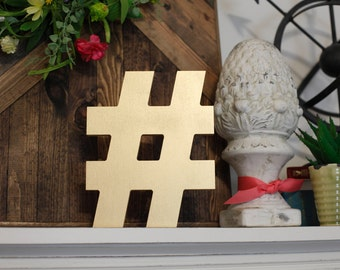 Hashtag Wood Word Cutout, Scroll Cut Word, # Sign Wood Sign, Stand on a Shelf Hashtag