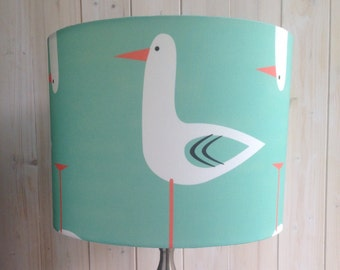 Modern Seagull Fabric Covered Drum Lampshade.