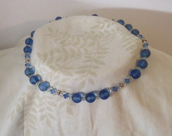 Vintage Faceted Blue Glass Bead Necklace