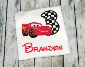 Personalized Disney Cars Birthday Shirt- lightning mcqueen birthday shirt- Lightning Mcqueen- Cars birthday party- Cars birthday shirt