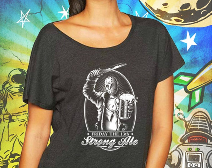 Jason's Strong Ale Vintage Black Women's Dolman T-Shirt Friday the Thirteenth Beer Tshirt