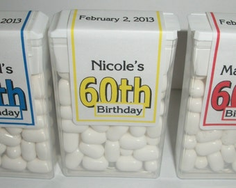 28 ~ 60th Birthday Party Favors Tic Tac Labels ~ Free Shipping