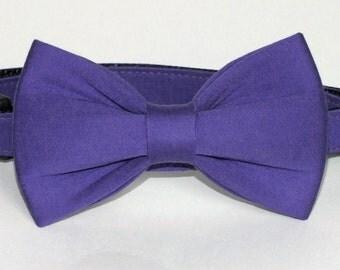 SALE Purple Sateen fabric bow tie ONLYfor dog/cat collars, pet bow tie, collar bow tie, wedding bow tie
