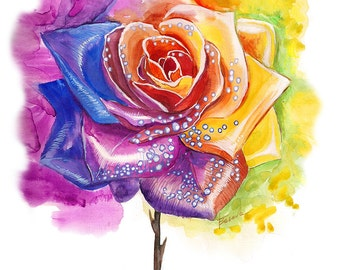 Rose Watercolor Painting Floral watercolor Flower painting watercolor flowers , original watercolor painting