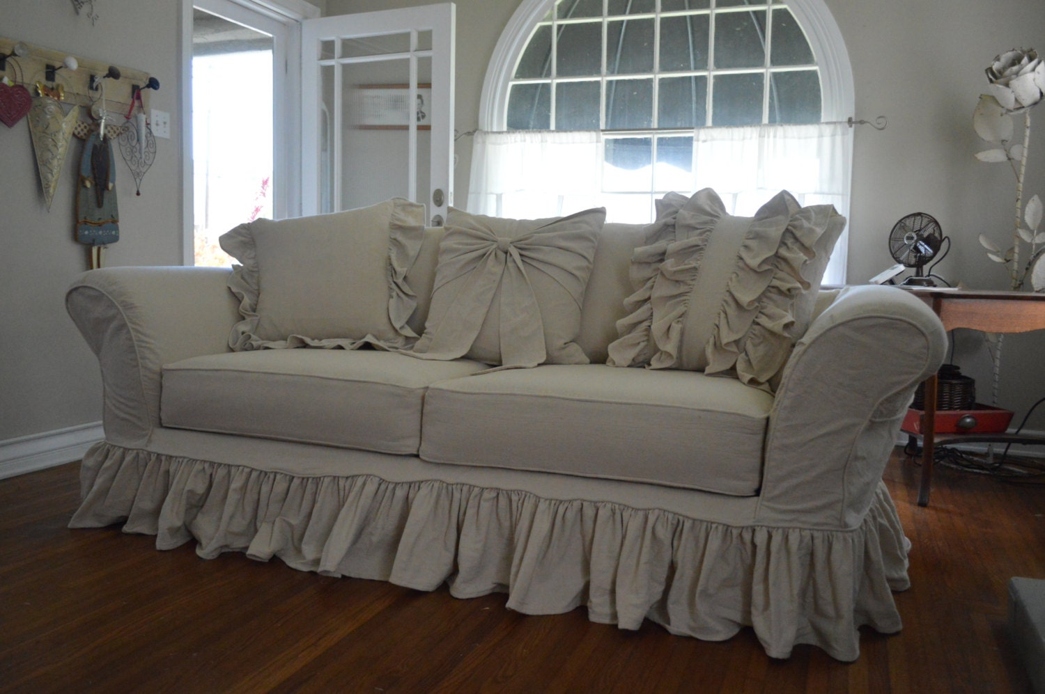 Drop cloth slipcover custom slipcover tailor made to fit your - Forro para sofa ...