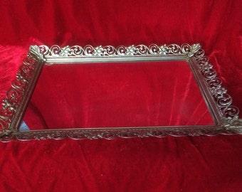 Vintage Rectangular Filagree Gold Tone Mirror Vanity Tray, Filagree Mirrored Dresser Tray, Vintage Hollywood Vanity Dresser Mirrored Tray