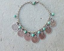 Turquoise anklet Antique Silver Boho Anklets Coin Gypsy Beachy EthnicTribal  foot jewelry