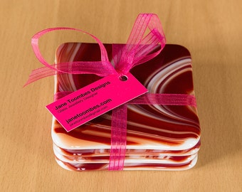 Fused glass coasters Set of 4 in red and white swirl pattern. modern coasters handcrafted