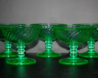 Uranium Glass Sherbet Glasses & Luncheon Plates