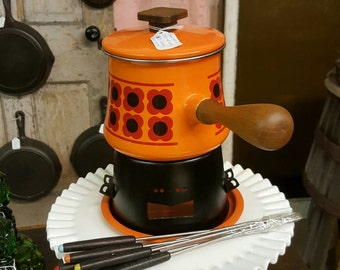 Retro Mad Men Orange and Red Fondue Set from late 60's, early 70's. (New, never used!!)