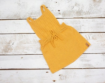 Yellow baby dress / Hand knit alpaca dress for baby / toddler / Knitted winter dress / Knitted girl dress