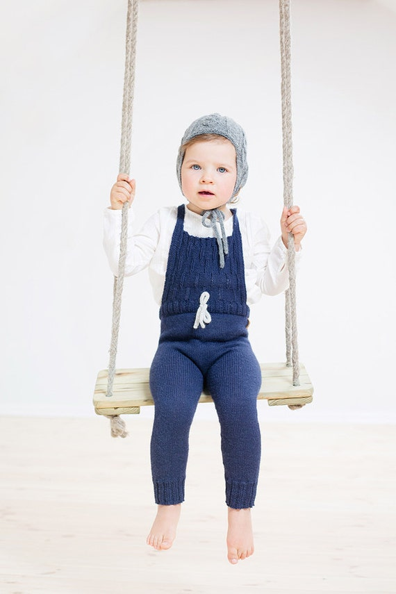 Blue children overalls / Hand knitted Alpaca pants / winter pants / Toddler winter trousers / knitted overalls