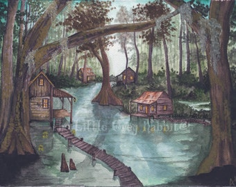 Bayou Watercolor, Swamp Painting, Landscape, Green and Brown Decor, Original Watercolor, Rustic Art, Folk Art Painting, Country Home Decor