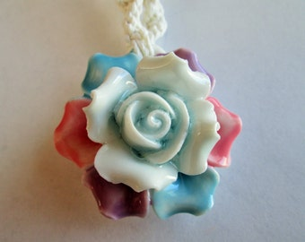 Handmade White Hemp Twist Necklace with Beautiful Ceramic Flower Pendant