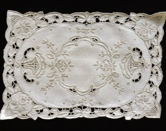Vintage grey brown embroidered rectangle doily