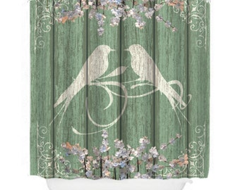 Shower Curtain Shabby Chic Chippy Rustic Wood Birds Floral Sage Green