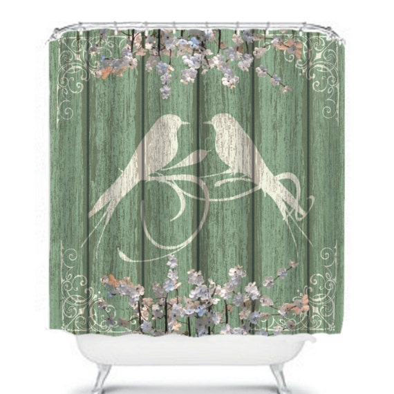 Shower curtain shabby chic chippy rustic wood birds floral for Shabby chic rhinestone shower hooks