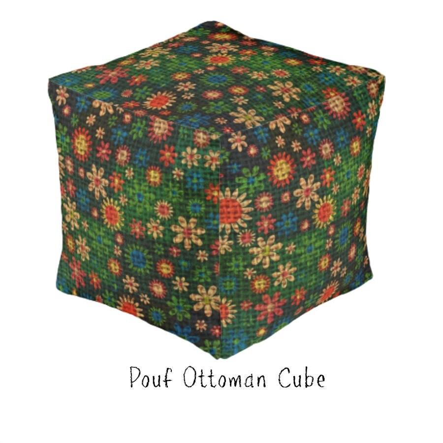 pouf ottoman cube boho daisy floral retro design by. Black Bedroom Furniture Sets. Home Design Ideas