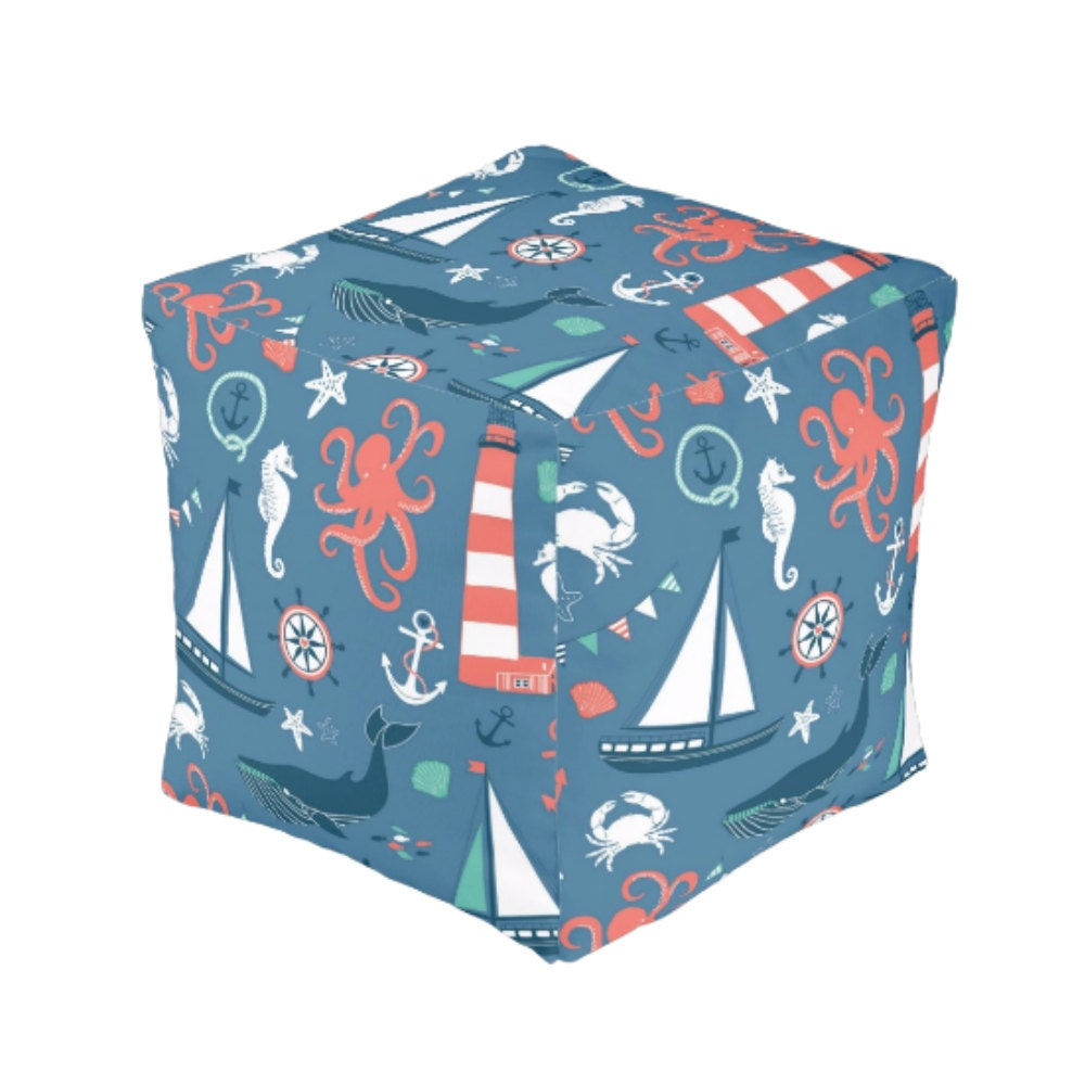 nautical pouf ottoman cube by folkandfunky on etsy. Black Bedroom Furniture Sets. Home Design Ideas